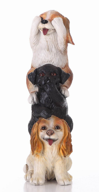 """21.25"""" Brown and Black Stacked Dogs Outdoor Garden Statue - IMAGE 1"""