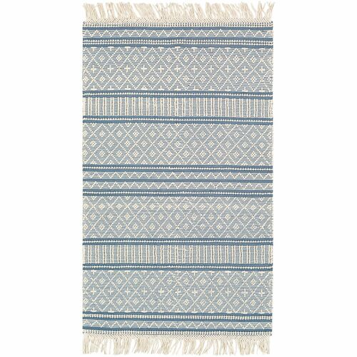 5' x 7.5' Geometric Patterned Denim Blue and White Rectangular Area Throw Rug - IMAGE 1