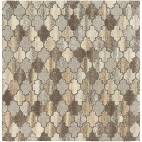 8' x 8' Moroccan Style Brown and Beige Square Area Throw Rug - IMAGE 1