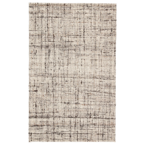 5' x 8' Gray and Ivory Contemporary Hand Woven Rectangular Area Throw Rug - IMAGE 1