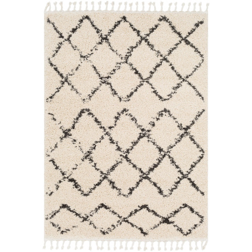 10' x 13.9' Geometric Patterned Beige and Black Rectangular Area Throw Rug - IMAGE 1