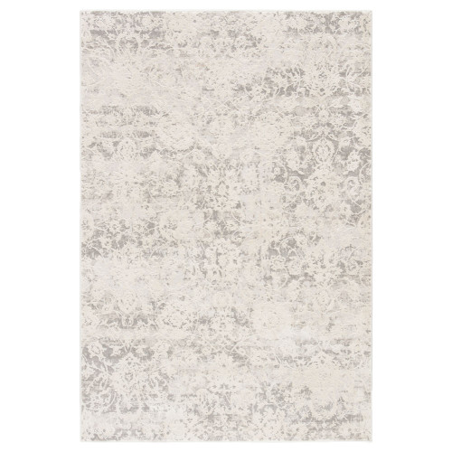 8.8' x 11.75' Ivory and Gray Distressed Rectangular Area Throw Rug - IMAGE 1