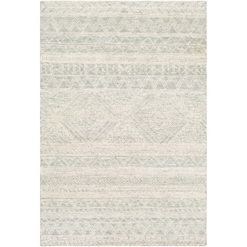 8' x 10' Contemporary Patterned Green and Cream White Rectangular Area Throw Rug - IMAGE 1