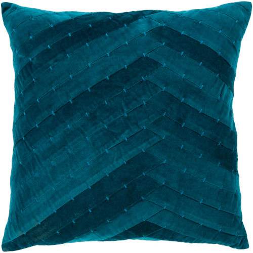 """18"""" Blue Square Throw Pillow with Knife Edge - Down Filler - IMAGE 1"""