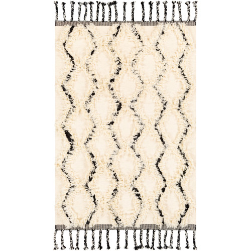 5' x 7.5' Geometric Patterned Beige and Black Area Throw Rug - IMAGE 1