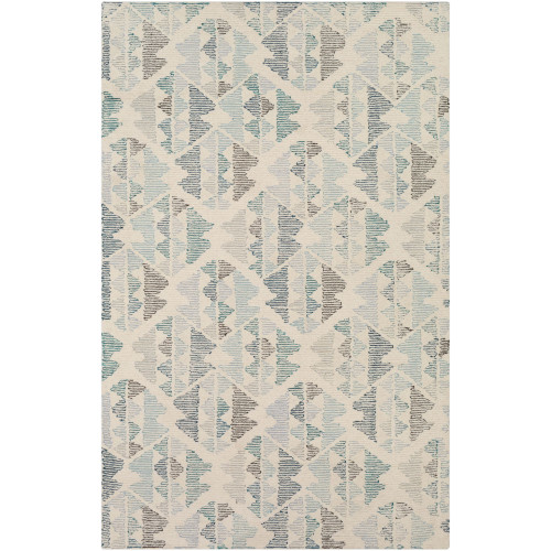 8' x 10' Seamless Pattern Ivory and Teal Rectangular Hand Tufted Wool Area Throw Rug - IMAGE 1