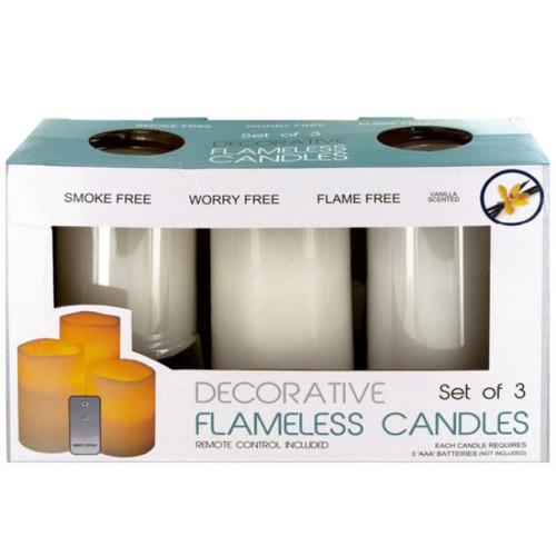 """Pack of 2 White 3-Piece Flameless Vanilla Candles with Remote Control 6"""" - IMAGE 1"""