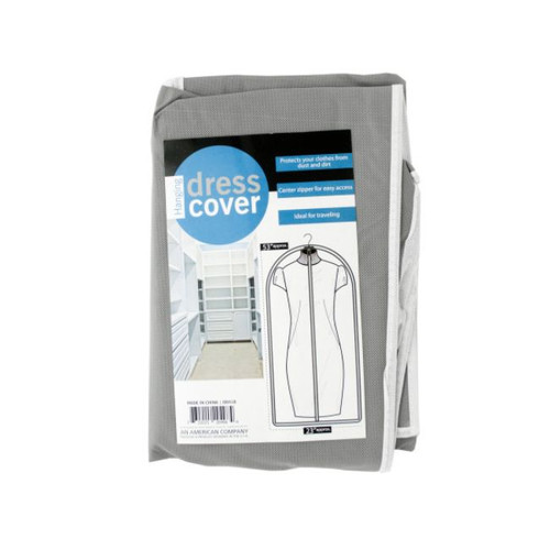 """Pack of 4 Gray and White Hanging Dress Cover 53"""" - IMAGE 1"""