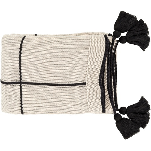 """Beige and Black Square Pattern Throw Blanket 50"""" x 60"""" - IMAGE 1"""