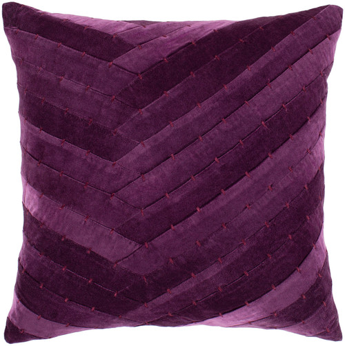 "20"" Dark Purple Stitched Square Throw Pillow - Down Filler - IMAGE 1"
