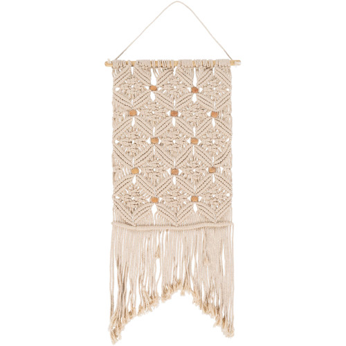 """36"""" x 15"""" Beige Contemporary Style Beaded Wall Hanging - IMAGE 1"""