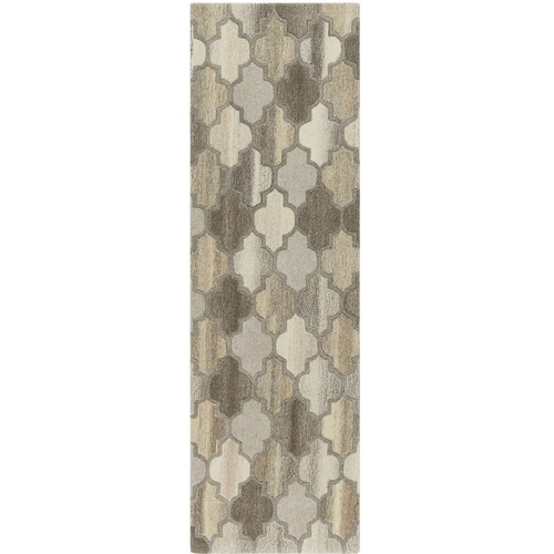 3' x 12' Trellis Patterned Brown and Gray Hand Tufted Area Throw Rug Runner - IMAGE 1