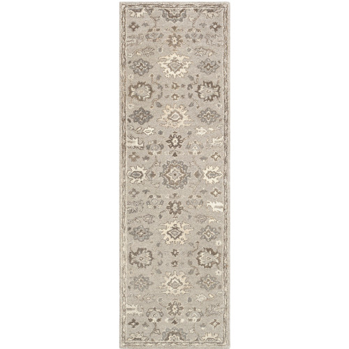 """2'6"""" x 8' Traditional Style Taupe and Gray Hand Tufted Wool Area Throw Rug Runner - IMAGE 1"""
