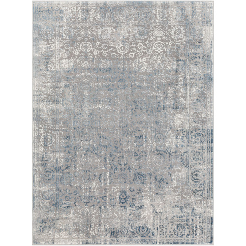2' x 3' Distressed Finish Floral Design Gray and White Rectangular Machine Woven Area Throw Rug - IMAGE 1