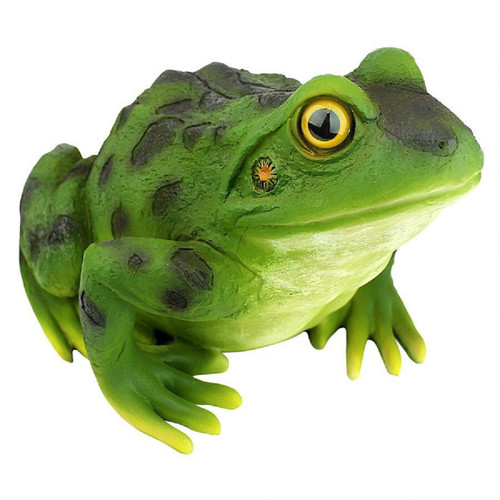 "9.5"" Realistic Frog Hand Painted Outdoor Garden Statue - IMAGE 1"