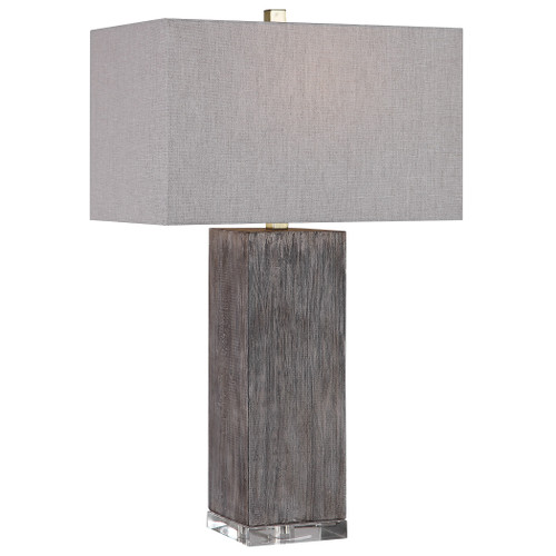 """30"""" Vilano Modern Rectangle Gray and Brown Table Lamp with Gray Shade - IMAGE 1"""