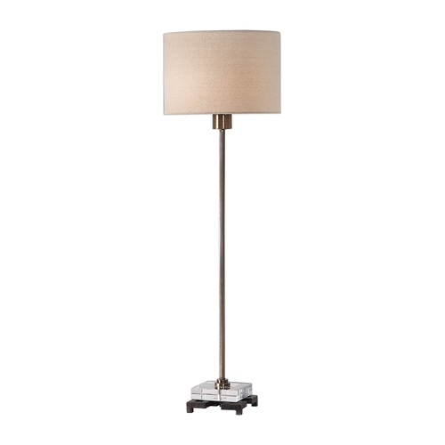 """33"""" Brass Contemporary Table Lamp with Matching Beige Shade - IMAGE 1"""