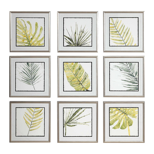 Set Of 9 Floral Leaves Canvas Hand Painted Indoor Wall Art - IMAGE 1