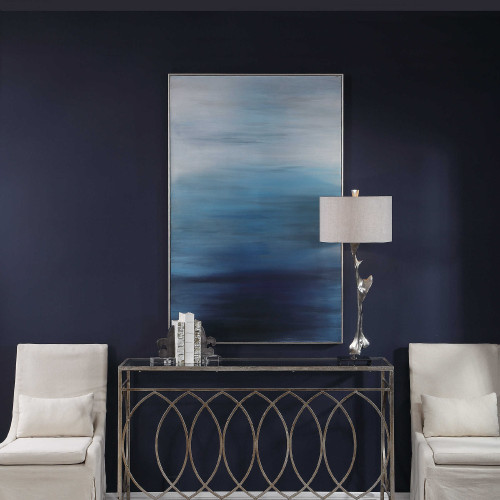"""60"""" Moonlit Sea Blue Hand Painted Canvas Wall Art - IMAGE 1"""