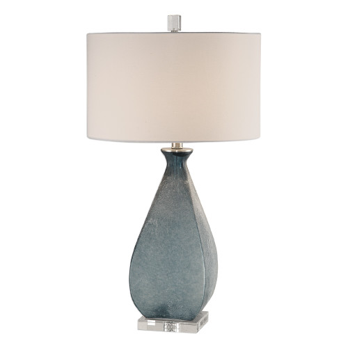 """28.75"""" Ocean Blue Glass Table Lamp with Matching White Shade - IMAGE 1"""