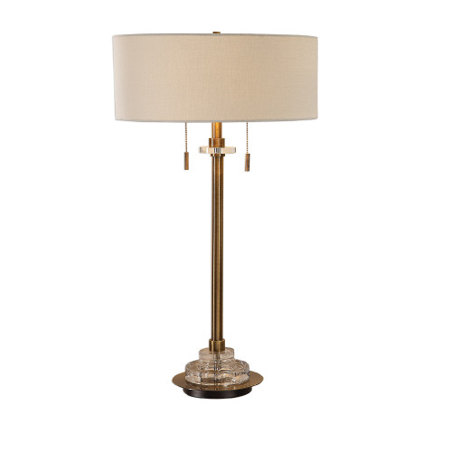 "32"" Glass and Brass Column Table Lamp - IMAGE 1"