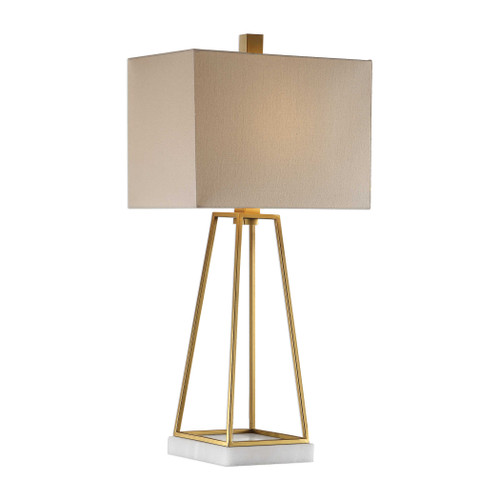 "34.5"" Metallic Gold Metal Tabletop Lamp With a Beige Lampshade - IMAGE 1"