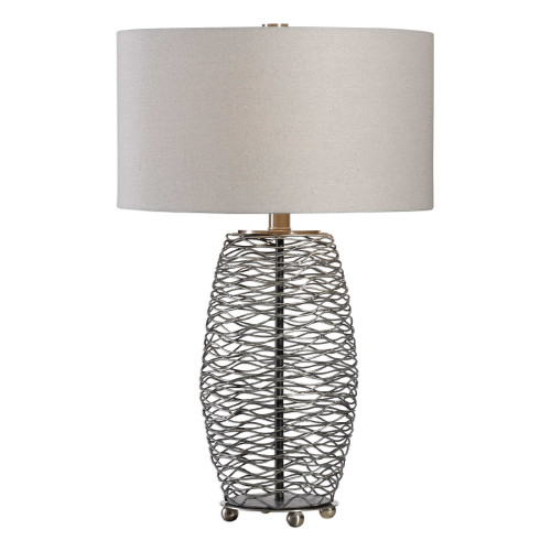 """28"""" Steel Mesh Table Lamp with Matching White Lamp Shade - IMAGE 1"""