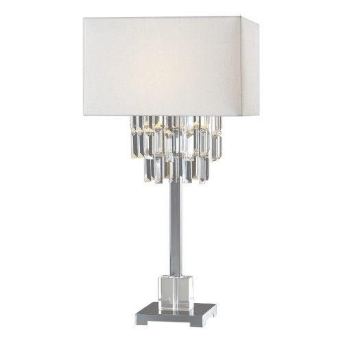 """28.25"""" White and Crystal Modern Table Lamp with Matching White Lamp Shade - IMAGE 1"""