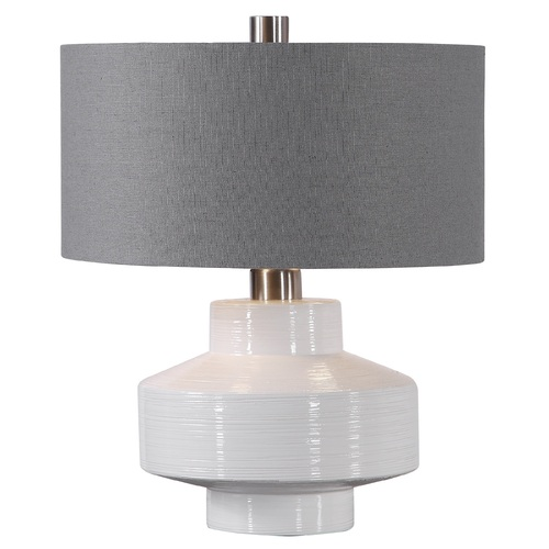 "19.25"" Gray and White Mid-century Ceramic Table Lamp with Matching Lamp Shade - IMAGE 1"