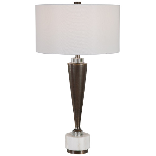 """30.75"""" Dark Bronze and White Marble Table Lamp with Matching Shade - IMAGE 1"""