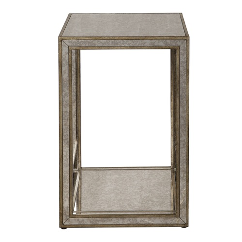 """24"""" Antiqued Gold Side Table with Mirrored Accents - IMAGE 1"""