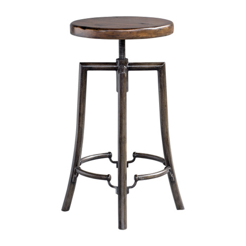 32-Inch Industrial Bar Stool with Adjustable Dark Walnut Suar Wood Seat - IMAGE 1