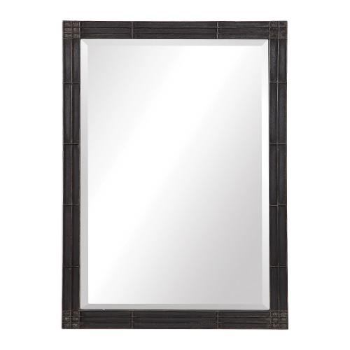 """34.75"""" Black Gower Aged Vanity Mirror - IMAGE 1"""