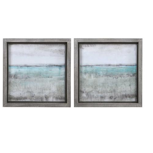 "Set of 2 Aqua Landscape Framed Prints Wall Art Decorations 27"" x 27"" - IMAGE 1"