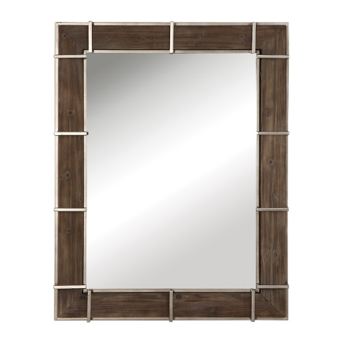 """48"""" Wood and Iron Rectangle Hanging Wall Mirror - IMAGE 1"""