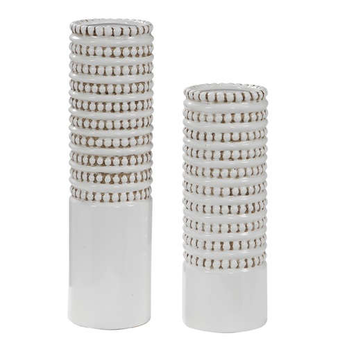 """Set of 2 White Ribbed Ceramic Vases 18"""" - IMAGE 1"""