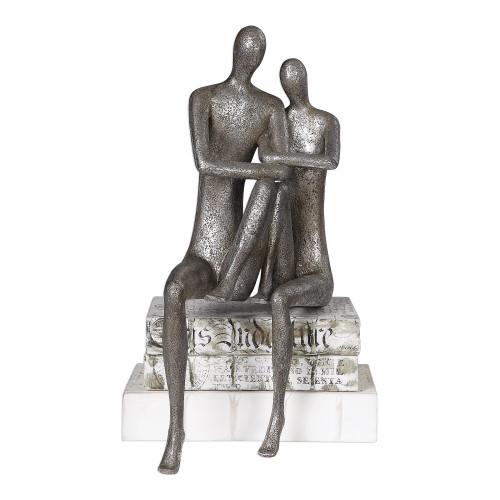 """19"""" Silver Courtship Antique Nickel Figurine - IMAGE 1"""