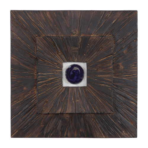 """19"""" Blue Agate Brown Wood Square Hanging Wall Art - IMAGE 1"""
