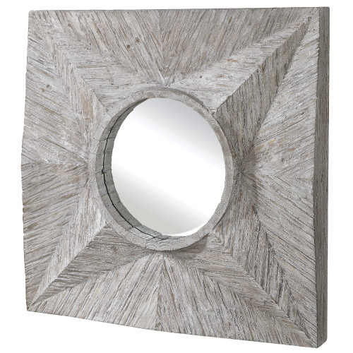 "41.75"" White Contemporary Driftwood Three Dimensional Geometric Mirror - IMAGE 1"