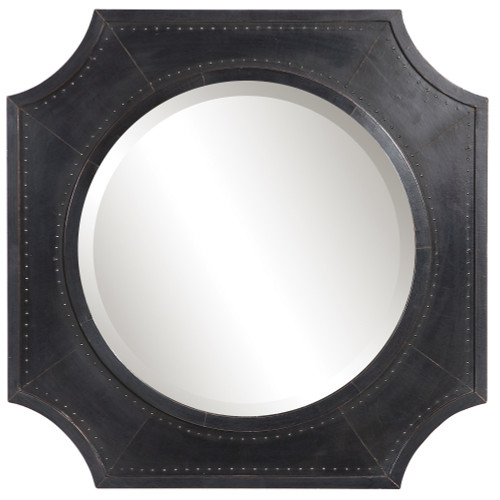 "27"" Black Johan Industrial Wall Mirror - IMAGE 1"