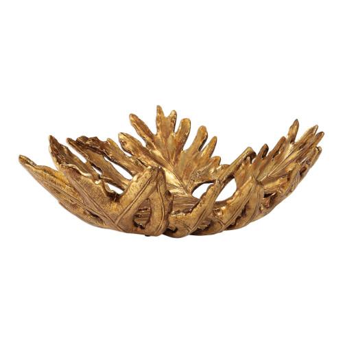"20"" Antique Metallic Gold Finish Oak Leaf Bowl - IMAGE 1"