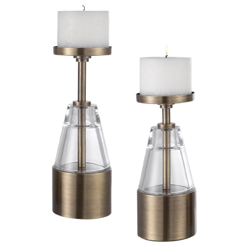 "Set of 2 Glass and Brass Pillar Candle Holders 12"" - IMAGE 1"