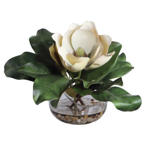 "13"" Artificial Silk Magnolia Arrangement in Glass Vase - IMAGE 1"