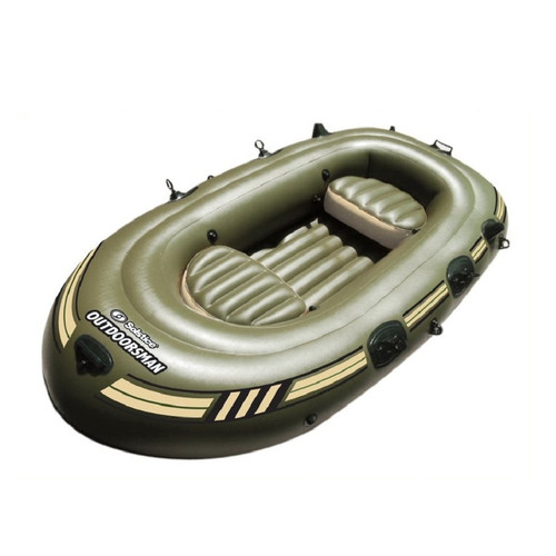 """130"""" Black and Green 6 Person Inflatable Fishing Boat Float - IMAGE 1"""