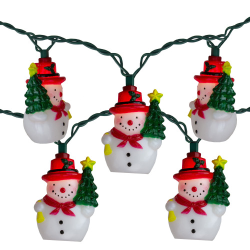 """Set of 10 Snowman With a Christmas Tree Novelty Lights - 11"""" Green Wire - IMAGE 1"""