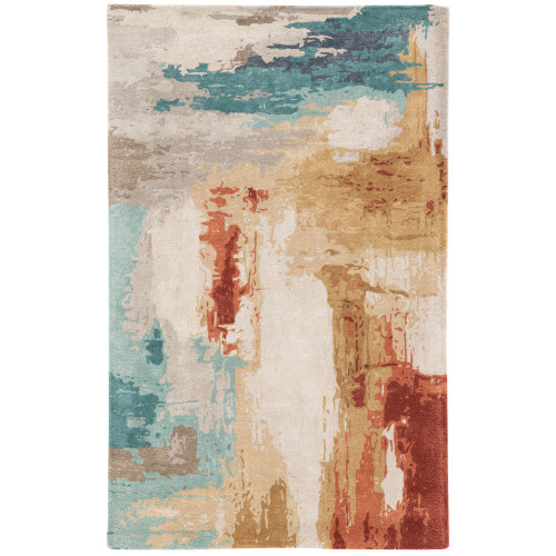 5' x 8'' Blue and Brown Contemporary Hand Tufted Rectangular Area Throw Rug - IMAGE 1
