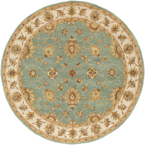 """3'6"""" Floral Persian Design Green and Brown Round Hand Tufted Wool Area Rug - IMAGE 1"""