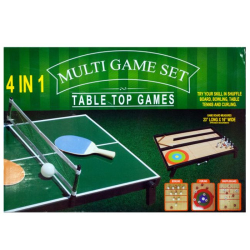 """23"""" Green and White Rectangular 25-Piece Tabletop Multi-Game Set - IMAGE 1"""