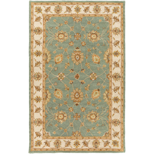 3' x 5' Teal Blue and Beige Floral Rectangular Area Throw Rug - IMAGE 1