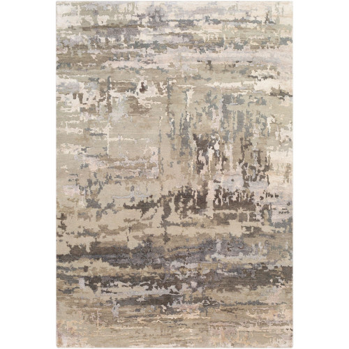 8' x 11' Distressed Finish Brown and Gray Rectangular Area Throw Rug - IMAGE 1